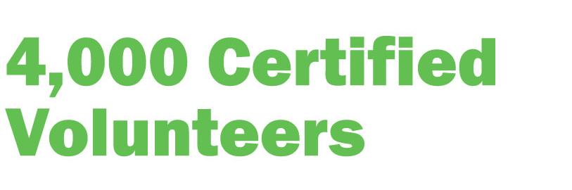 4,000 certified volunteers