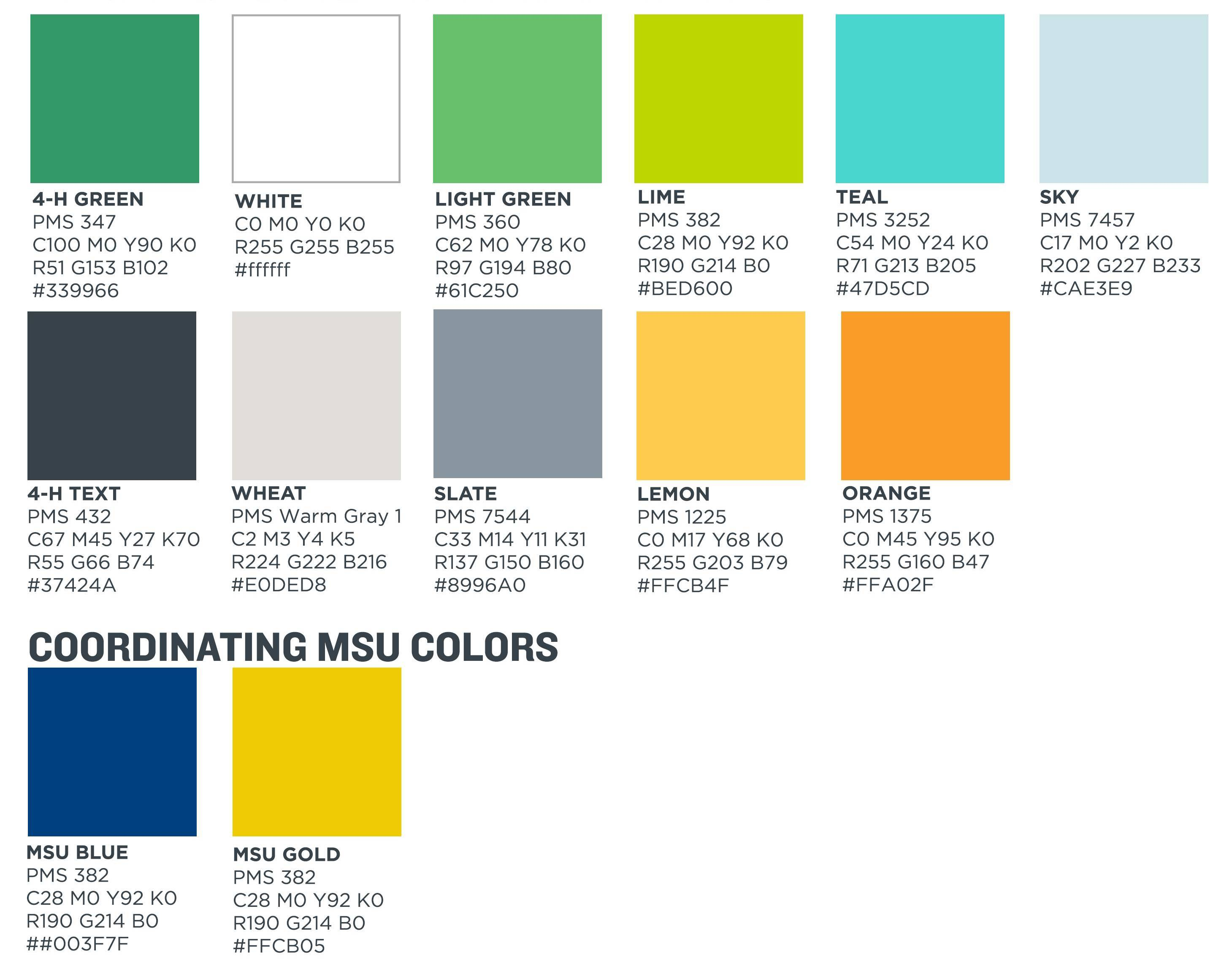 4-H color pallete