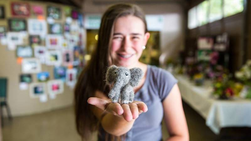 girl with wool elephant