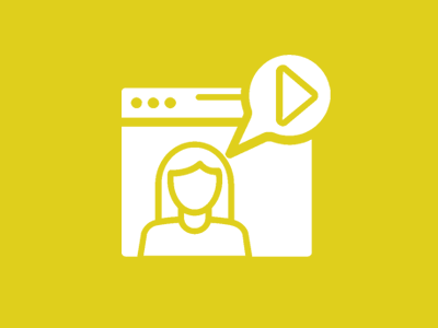 yellow background with white icon of webinar
