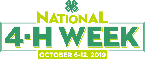 national 4-H week logo in bright green with date October 6-12, 2019