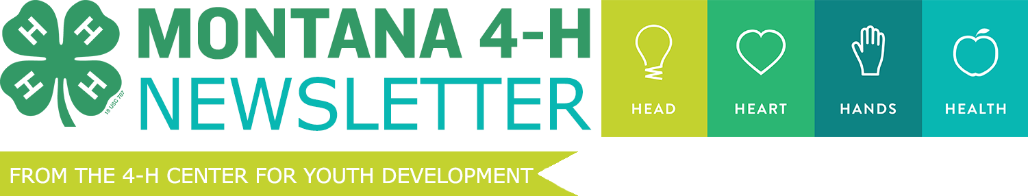 Montana 4-H newsletter header with green 4-H clover and head heart hands health icon in shades of green.